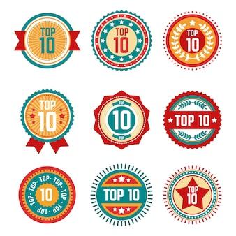 Verzameling van ronde top 10 labels