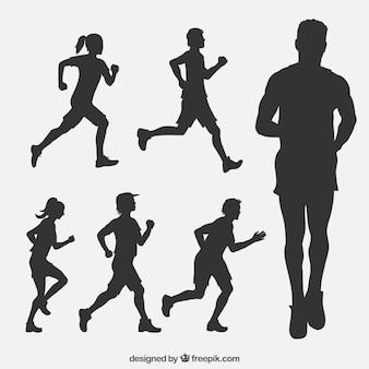 Verzameling van runners silhouetten