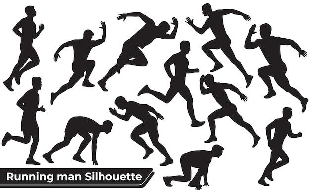 Verzameling van running man-silhouetten in verschillende poses