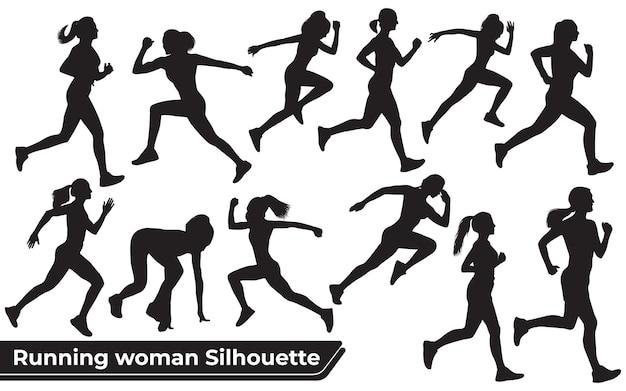 Verzameling van running woman-silhouetten in verschillende poses