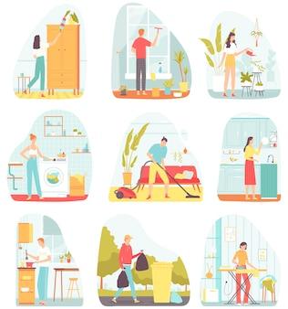 Verzameling van scènes met mensen die huishoudelijk werk doen vlakke afbeelding voor banners posters briefkaart
