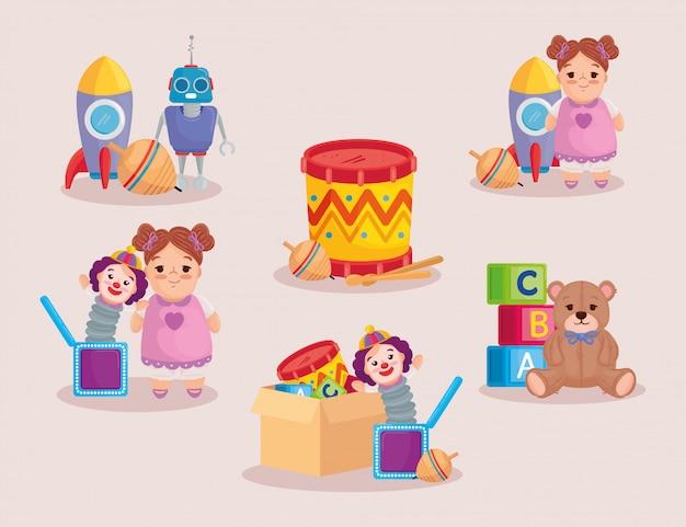 Verzameling van schattig kinderspeelgoed