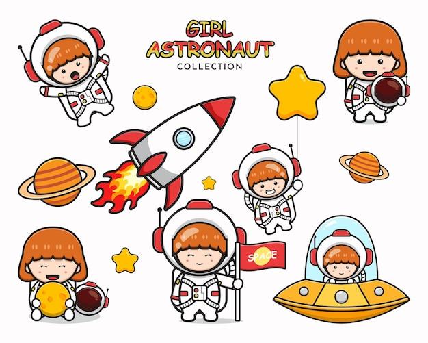 Verzameling van schattig meisje astronaut cartoon pictogram illustraties illustratie ontwerp geïsoleerde platte cartoon stijl instellen