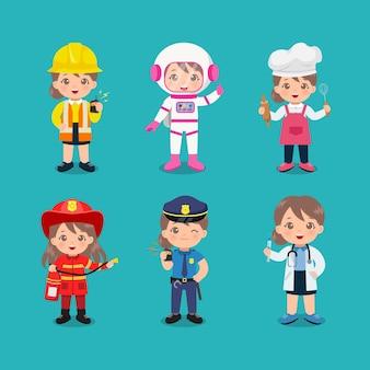 Verzameling van schattig meisje in ander beroep dag van de arbeid illustraties platte vector cartoon design