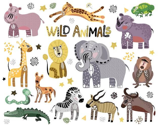 Verzameling van schattige afrikaanse wilde dieren op wit