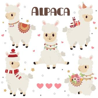 Verzameling van schattige alpaca met harten