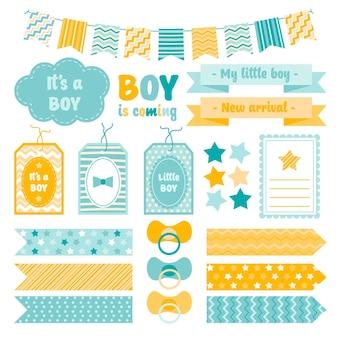 Verzameling van schattige baby shower plakboekelementen