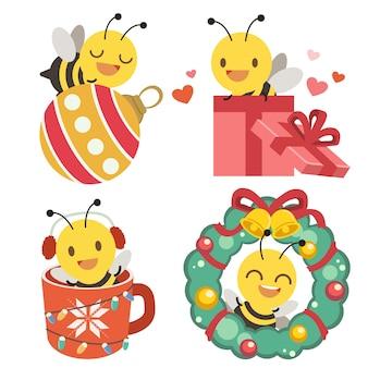 Verzameling van schattige bijen met kerstthema