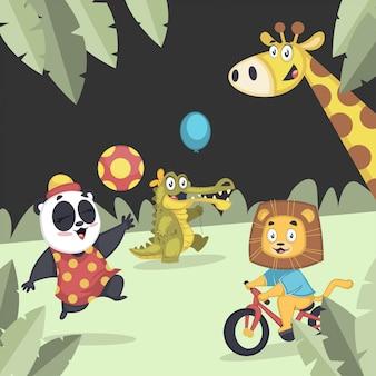 Verzameling van schattige dieren samen spelen in de speeltuin