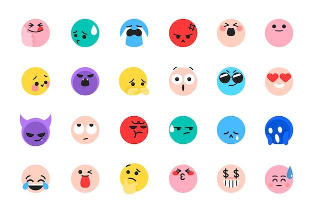 Verzameling van schattige emoticons tiktok emoji's ingesteld voor reacties op sociale media Premium Vector