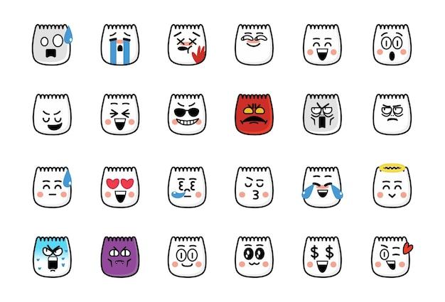 Verzameling van schattige emoticons tiktok emoji's ingesteld voor reacties op sociale media