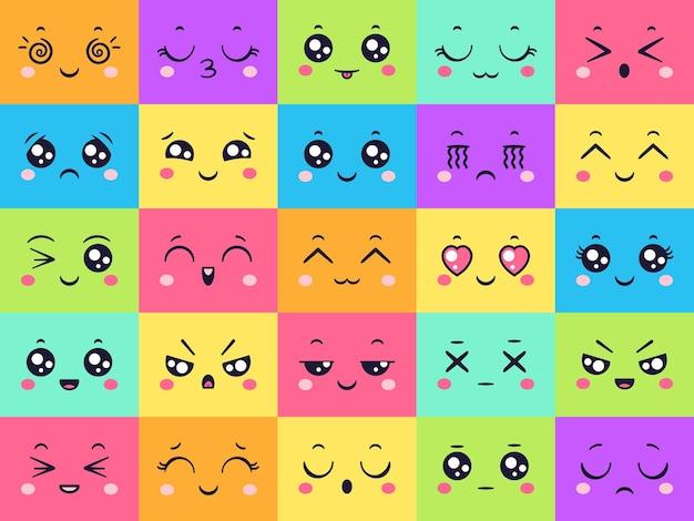 Verzameling van schattige gekleurde gezichten, emoticon-emotie.