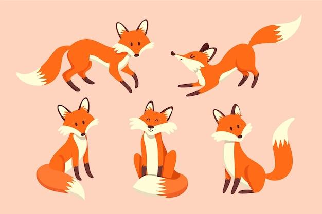 Verzameling van schattige getekende vossen