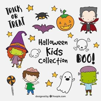 Verzameling van schattige halloween kinderen