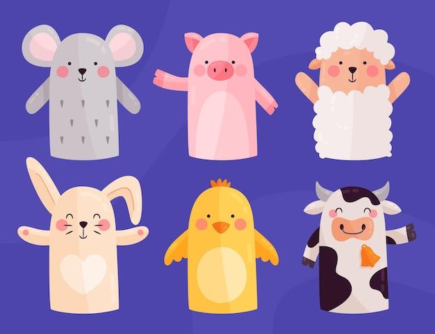 Verzameling van schattige handpoppen voor kinderen