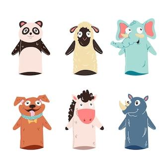 Verzameling van schattige handpoppen voor kinderen Gratis Vector