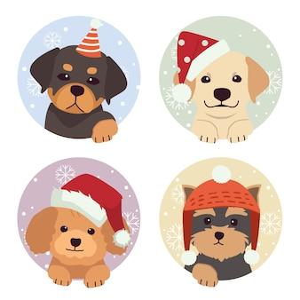 Verzameling van schattige hond in sneeuw en cirkel