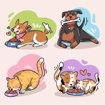 Verzameling van schattige huisdieren die premium vectorkrabbelillustratie eten