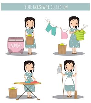 Verzameling van schattige huisvrouw