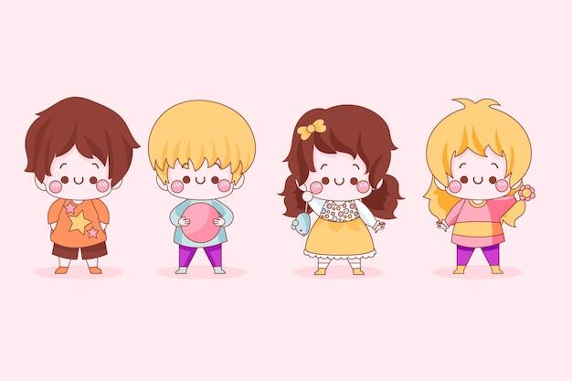 Verzameling van schattige japanse kinderen