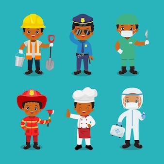 Verzameling van schattige jongen in ander beroep dag van de arbeid illustraties platte vector cartoon design