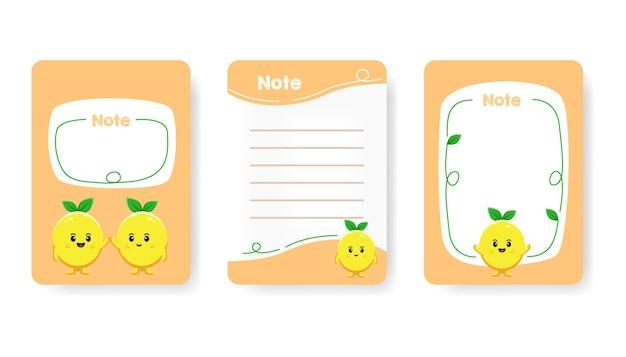 Verzameling van schattige kinderachtige afspraak notebook pagina platte vectorillustratie. kleurrijke takenlijst, herinnering en blanco pagina met schattig citroenkarakter