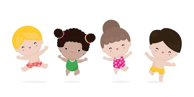 Verzameling van schattige kinderen springen genieten van de zomer op het strand groep kinderen plezier op het strand hallo zomervakantie platte cartoon geïsoleerd op witte achtergrond
