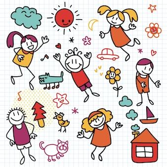 Verzameling van schattige kindertekeningen van kinderen, dieren, natuur, objecten, doodle stijl