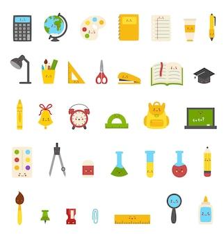 Verzameling van schattige kleurrijke kawaii schoolbenodigdheden.