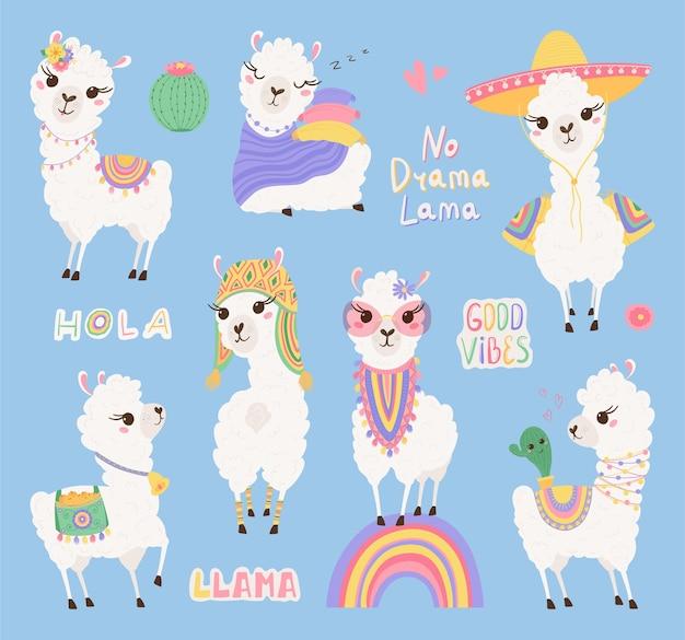 Verzameling van schattige lama's en cactussen, belettering in pastelkleuren.