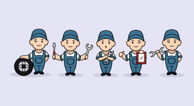Verzameling van schattige mannelijke kinderen reparateur