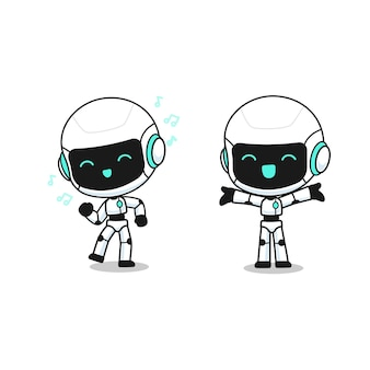 Verzameling van schattige robot in veel actie, kawaii mascotte karakter voor illustation