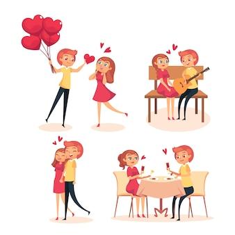 Verzameling van schattige romantische paar