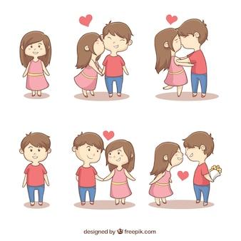 Verzameling van schattige romantische paren