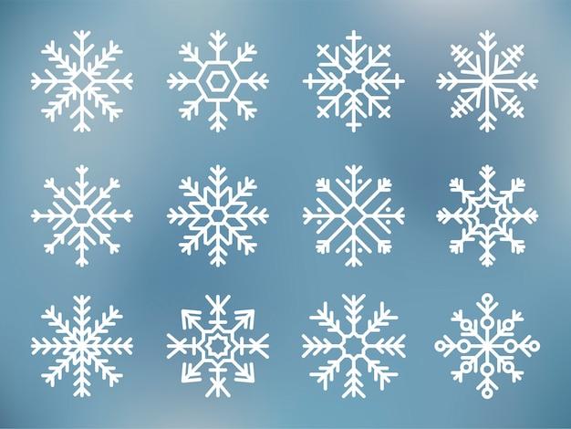 Verzameling van schattige sneeuwvlok iconen