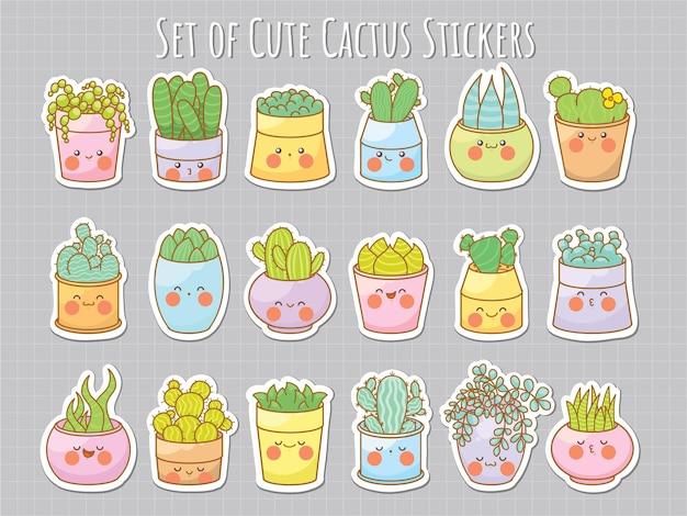 Verzameling van schattige sticker cactus en vetplant stripfiguur