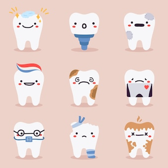 Verzameling van schattige tanden mascottes