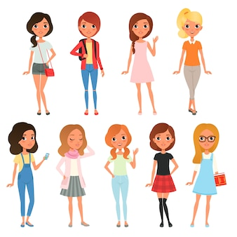 Verzameling van schattige tienermeisjes gekleed in stijlvolle kleding