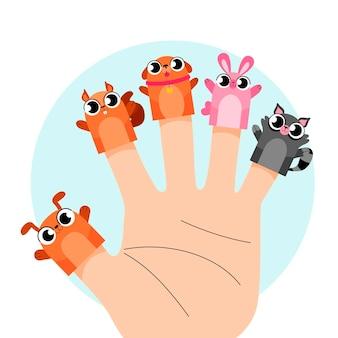 Verzameling van schattige vingerpoppetjes voor kinderen Gratis Vector
