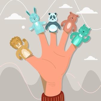 Verzameling van schattige vingerpoppetjes voor kinderen