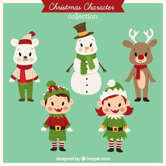 Verzameling van schattige vintage kerst tekens