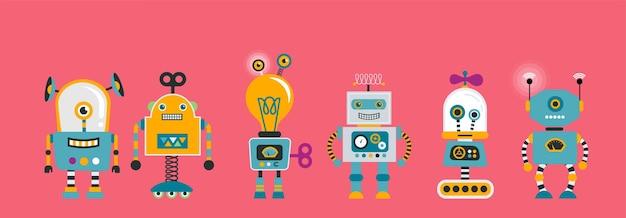 Verzameling van schattige vintage robots
