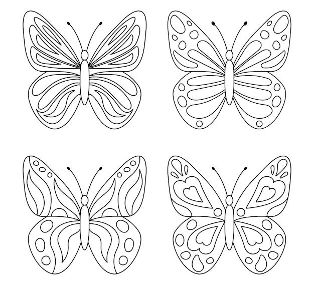 Verzameling van schattige vlinders om in te kleuren