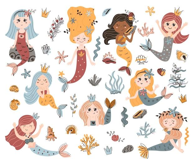 Verzameling van schattige zeemeerminnen.