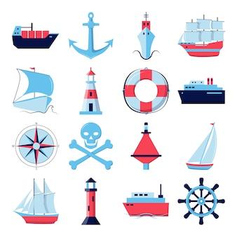 Verzameling van scheepspictogrammen in vlakke stijl
