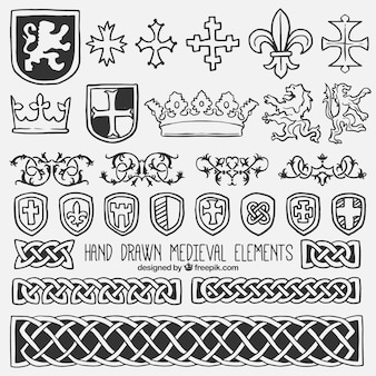 Verzameling van schild en middeleeuwse element