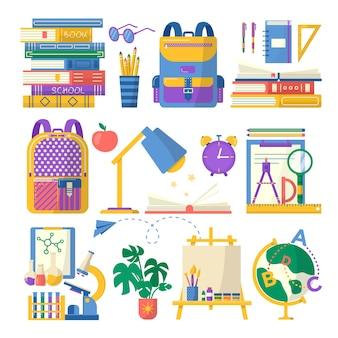 Verzameling van schoolbenodigdheden met, boek, notitieboekje, pen, rugzak, liniaal, boeken, wereldbol, lamp, scheikundesetborstel en verf. vector terug naar schoolachtergrond met briefpapier. kantoor accessoires.