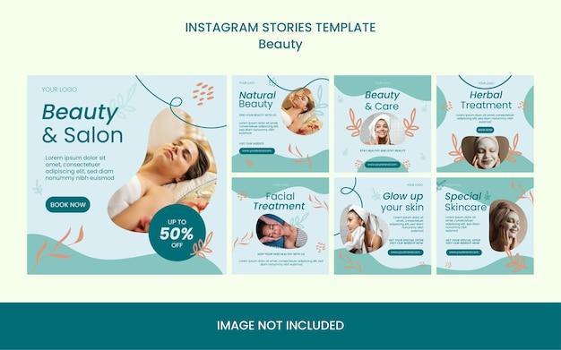Verzameling van schoonheid huidverzorging behandeling salon moderne instagram post feed sjabloon