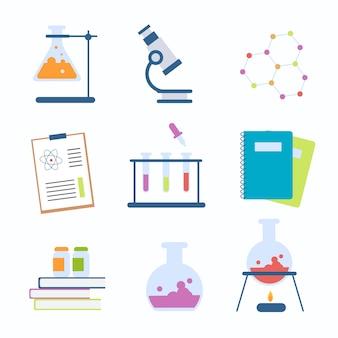 Verzameling van science lab-objecten