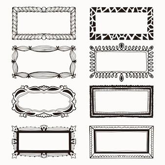Verzameling van sierlijke schoonheid frames hand getrokken